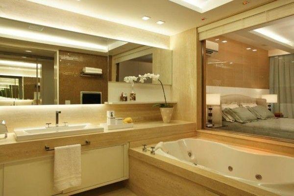Banheiros Com Iluminacao Embutida Atras Do Espelho Espelho