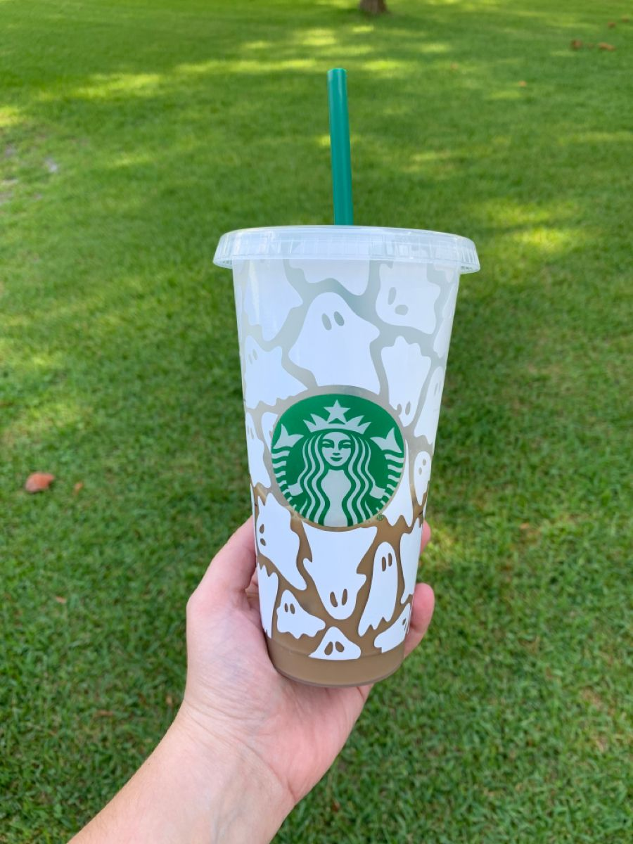 Halloween Ghost reusable starbucks cold cup Iced coffee