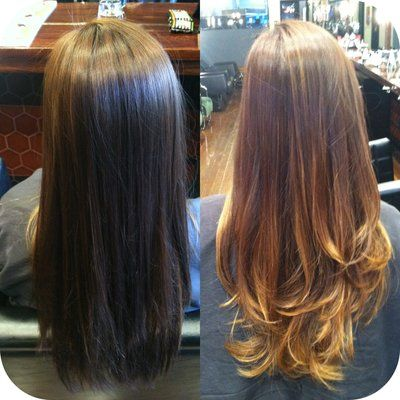 Before and after Balayage/Ombré and haircut done by Rebekah.