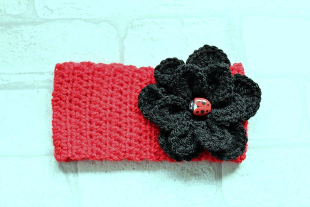 crochet lady bird flower headband | headbands | Pinterest
