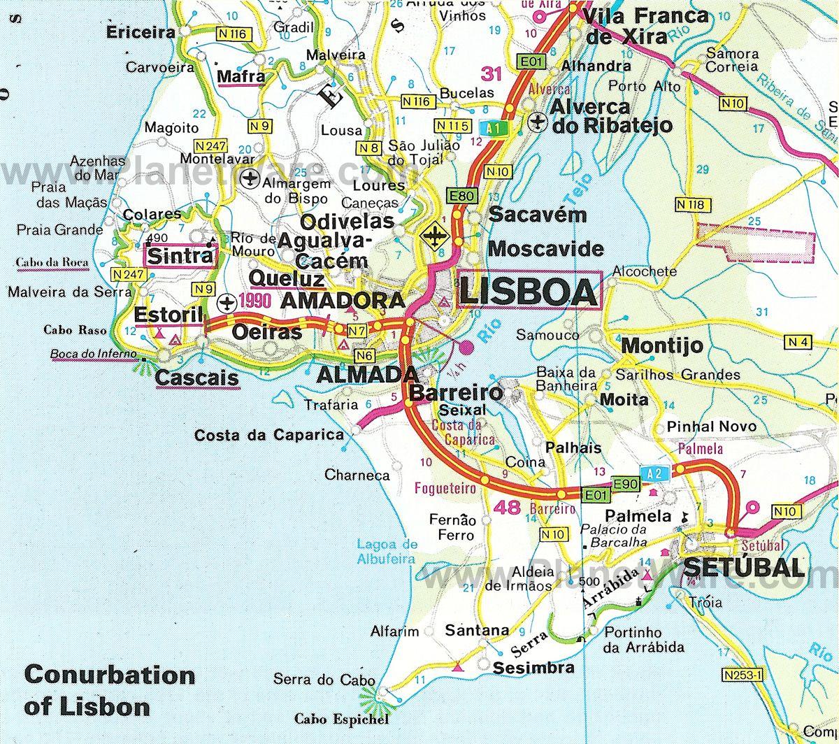 Map Of Lisbon Portugal Pinterest