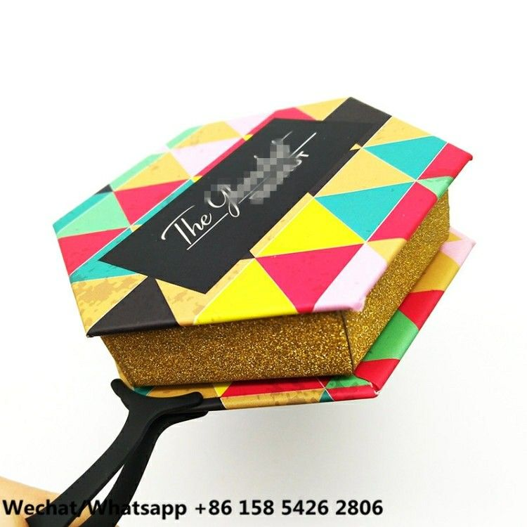 932803431d4 Private Label Custom eyelash packaging box for mink LASHES Hexagon shape  With Round Lash tray