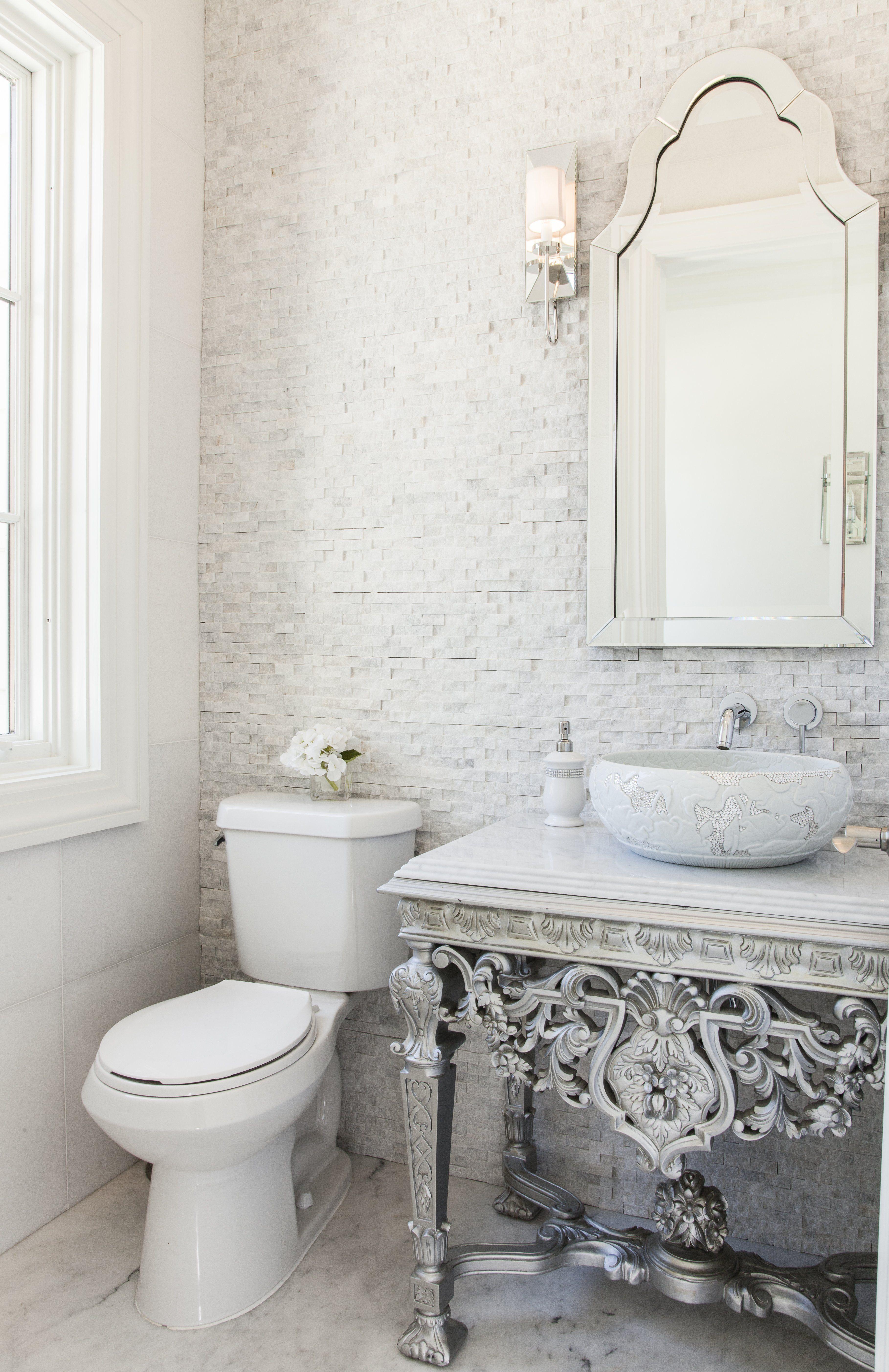 crystal bathroom accessories sets%0A Powder Bathroom Design  Juniper Drive  Swarovski crystal sink sits on a  hand carved vanity