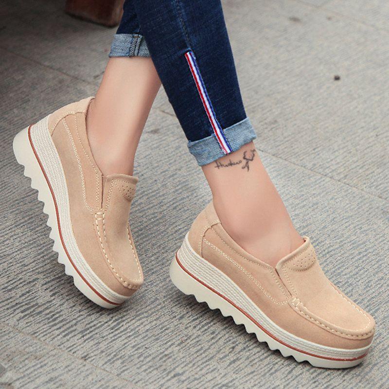 7475cc1f8436 Breathable Women Suede Platform Shoes Slip On Loafers - PopJulia.com