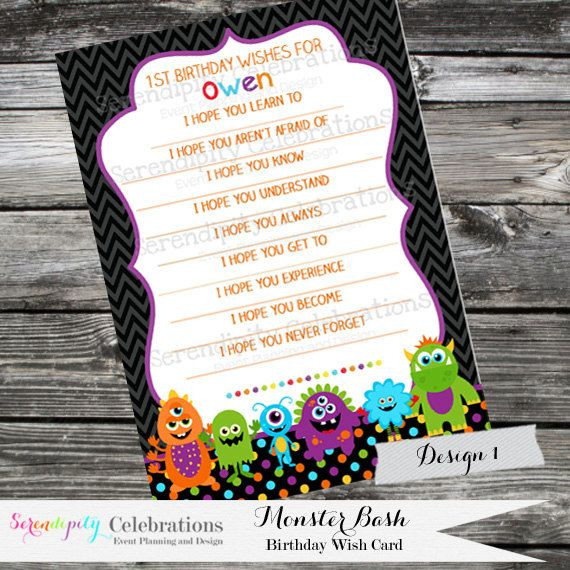 Printable Wishes For... Monster Bash -Baby Shower -1st