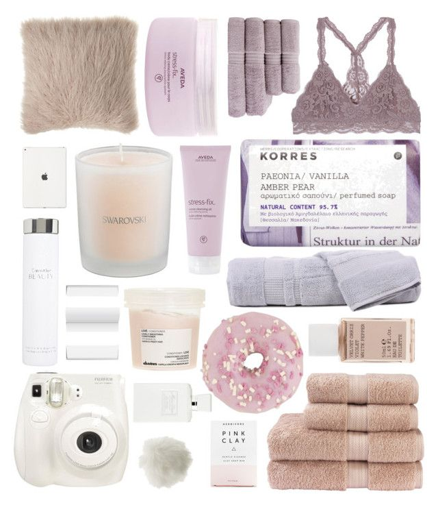 """purple - pink - white"" by amymgilbert ❤ liked on Polyvore featuring Christy, Korres, Davines, Aveda, Christian Dior, Swarovski, Hamam, Fuji, Herbivore and Miss Selfridge"
