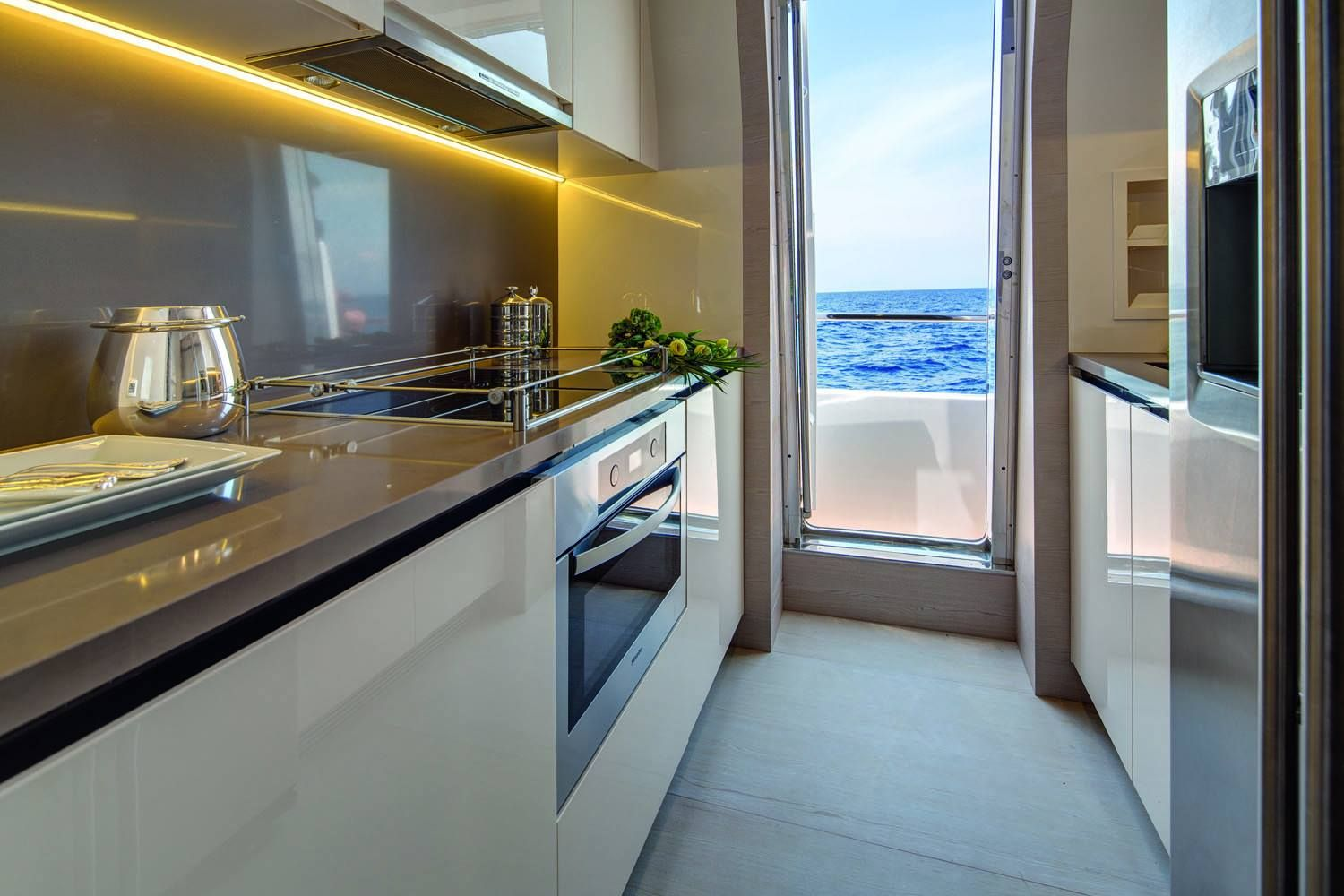 Azimut yachts interior kitchen seatech marine products daily watermakers yacht interiors Ship galley kitchen design