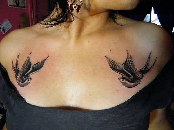 Bird Tattoo On Chest Female