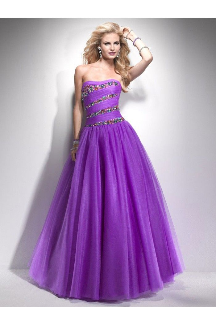 Ball Gown Strapless Long Lavender Purple Tulle Beaded Prom Dress ...