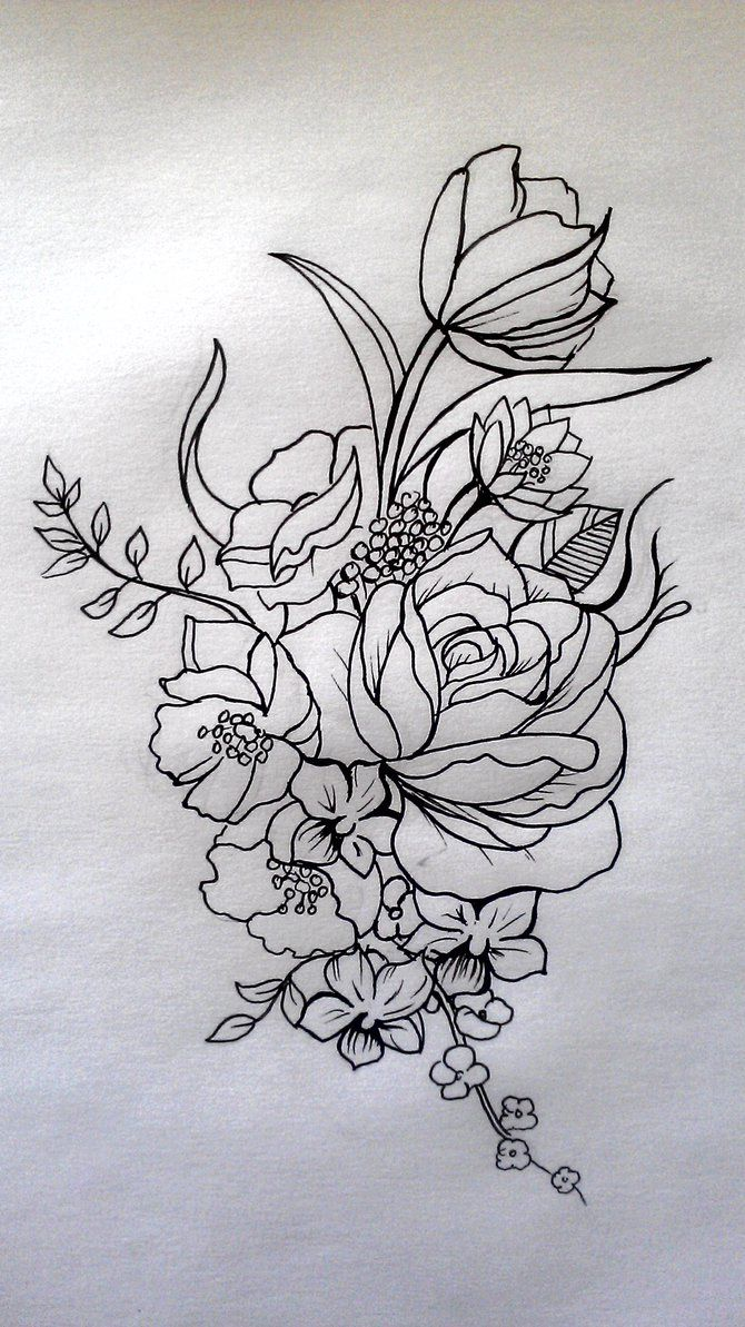 Floral Tattoo By Cit Cat Kate On Deviantart Floral Thigh Tattoos