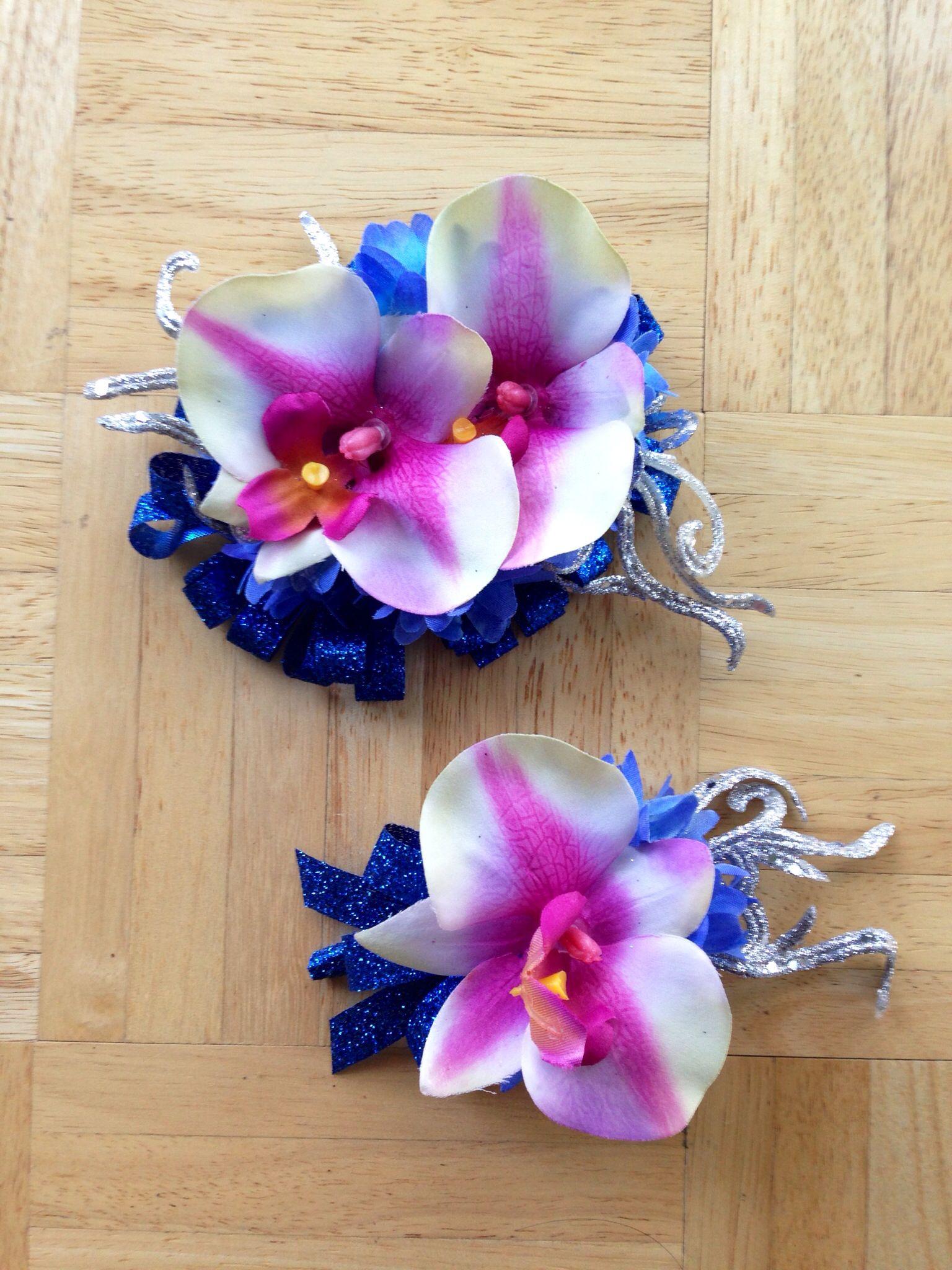 Diy artificial orchid promformaldance corsage and boutonnière