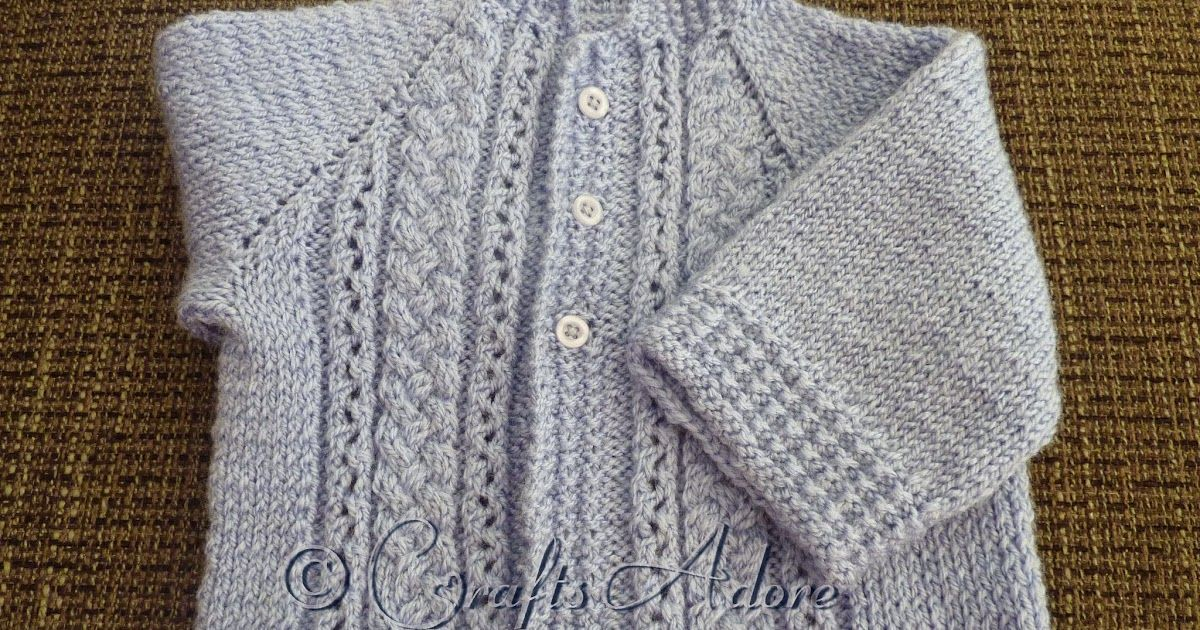 Handsome Cables Knitted Baby Boy Cardigan Free Knitting Pattern
