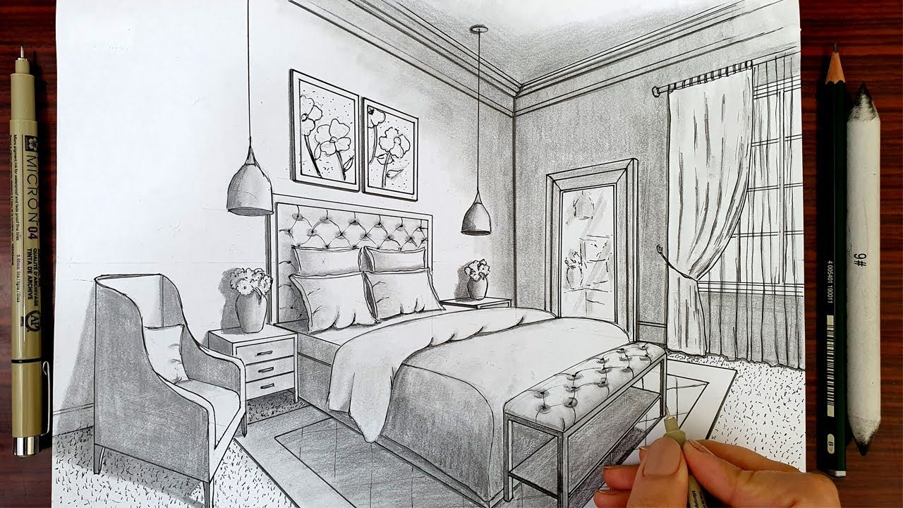 How To Draw A Room In Two Point Perspective How To Draw In Two Point Perspective Interi Perspective Room Interior Architecture Drawing Room Perspective Drawing