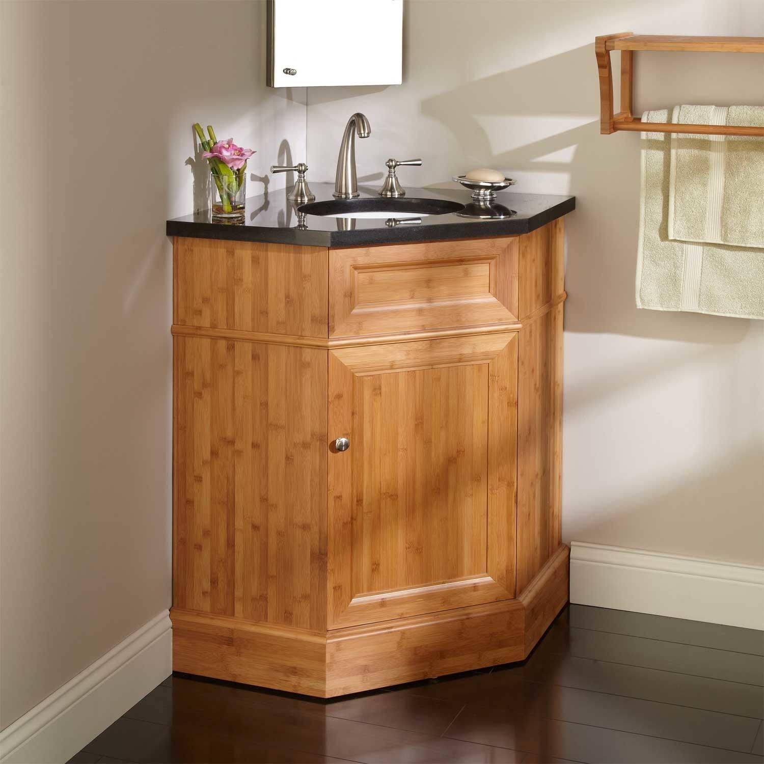 36 bridgemill corner bamboo vanity for undermount sink for Small bathroom basin cabinets