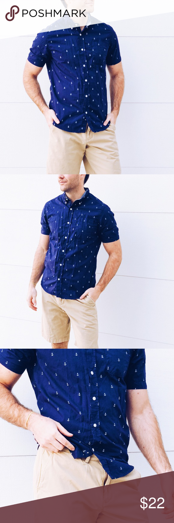 75251beb0281 Navy Blue Anchor Short Sleeve Button Down ✓️The perfect casual shirt! Men s  Classic Fit Carbon Short Sleeve Button Down. ✓️Size Medium. 100% cotton.
