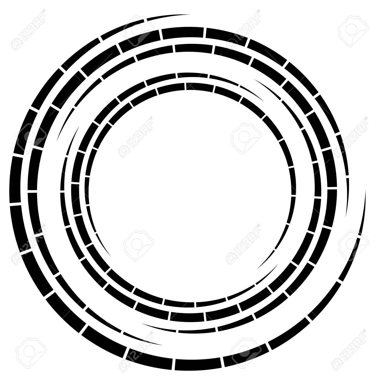 Segmented Circle With Rotation Circular And Radial Dashed Lines Volute Helix Abstract Concentric Circle Spiral Swirl Twirl Element Abstract Geometric Swirl