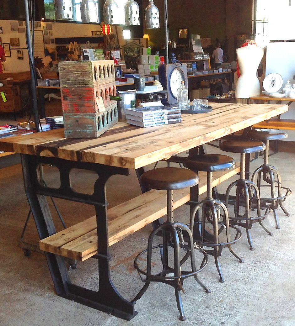 Kitchen Island Table And Chairs: Iron Wood Industrial Vintage Worktable Kitchen Island