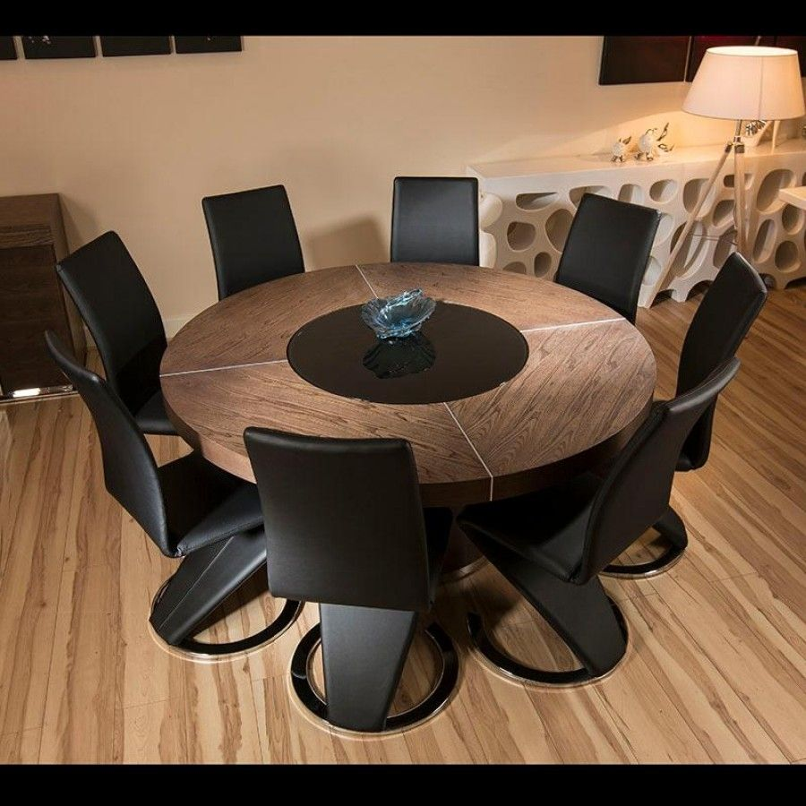 Large Round Elm Wood Dining Table + 8 High Black Faux Leather Chairs .