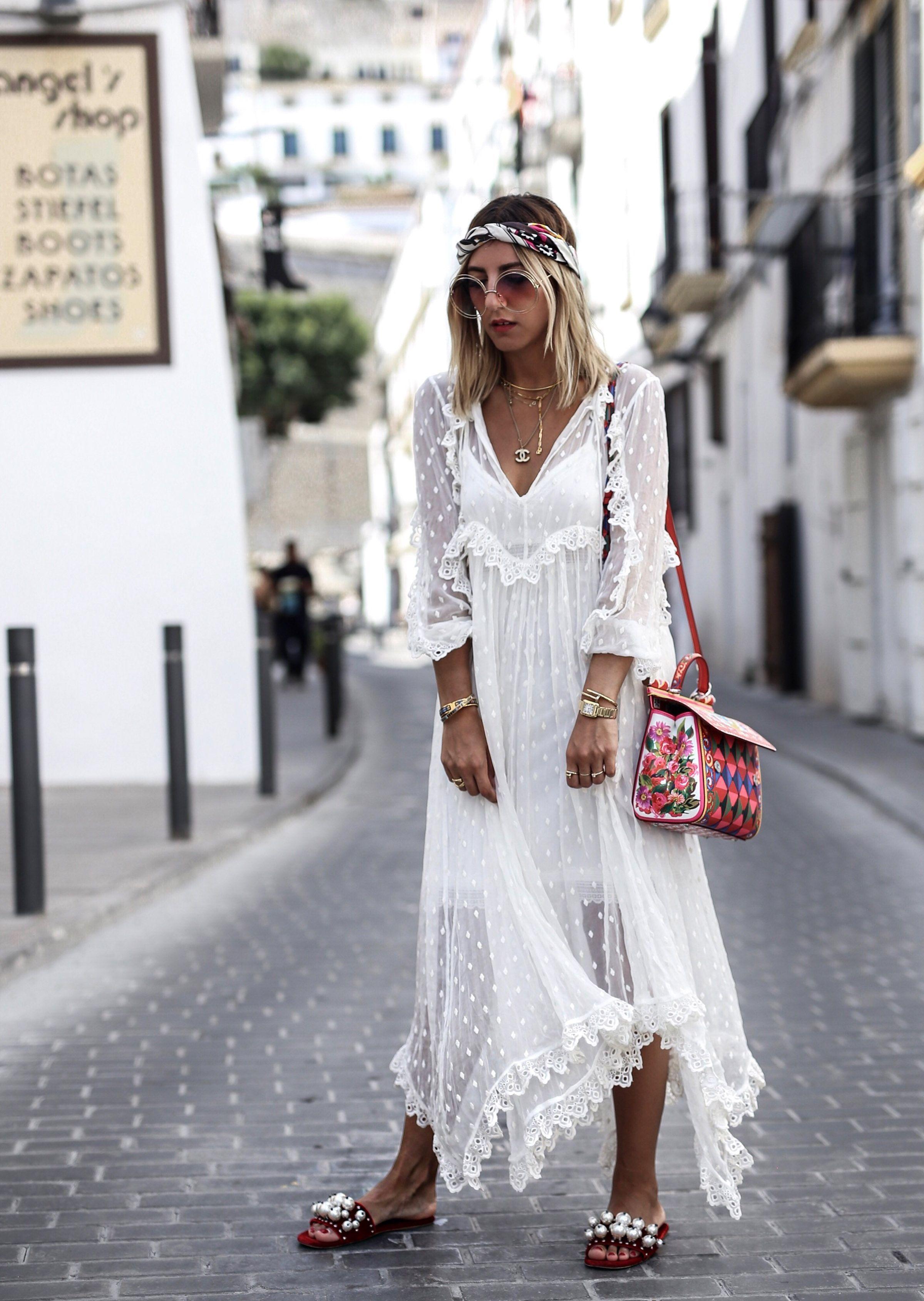 Weißes Kleid Ibiza Style   Abendkleid Ideen   Ibiza outfits, Ibiza ...
