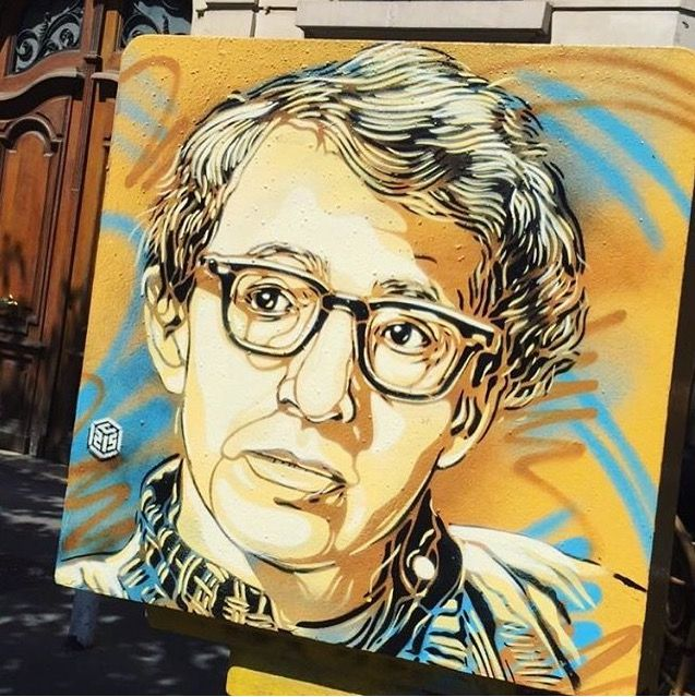 Woody Allen portrait by C215 in Vincennes, France, 2017 (LP)