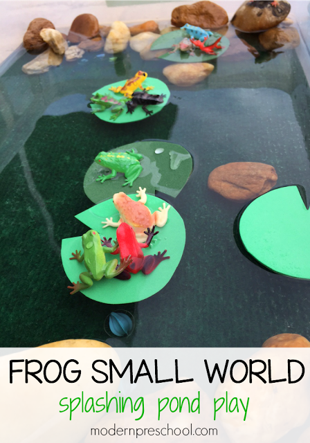 Frog splashing pond small world water play frogs and plays for Small frog pond ideas