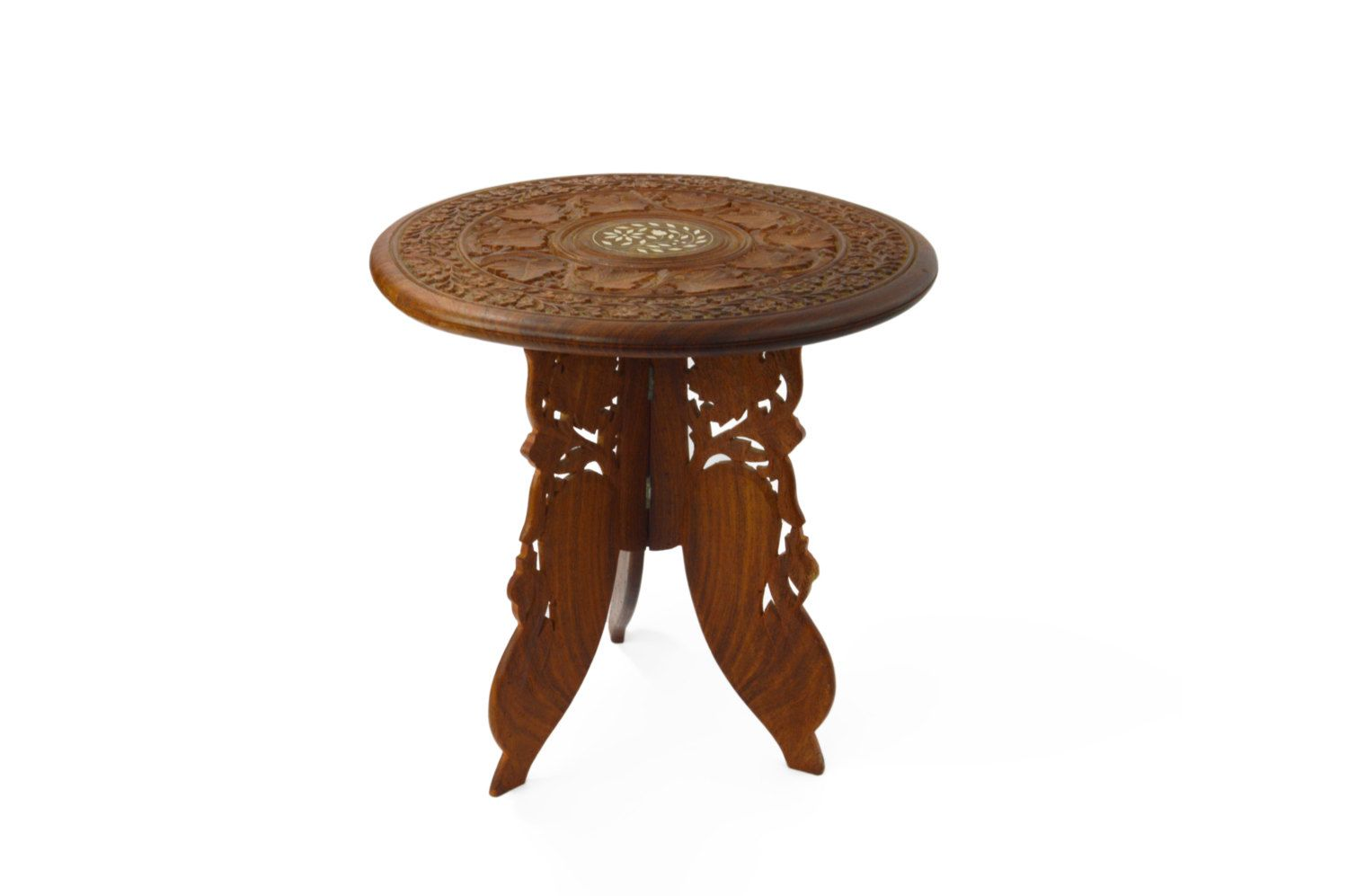 Vintage Table 1960 S Carved And Inlaid Three Leg Indian Etsy Vintage Table Indian Table Bohemian Decor [ 997 x 1500 Pixel ]