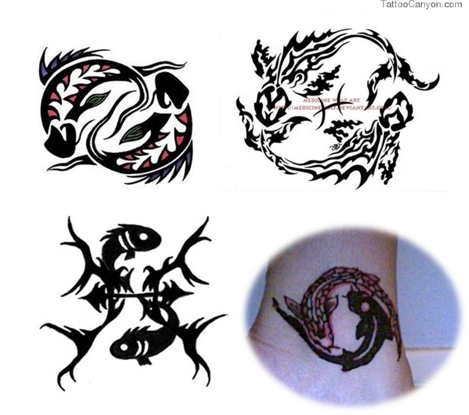Zodiac Pisces Symbol Tribal Tattoo Design Photo 1 Tats