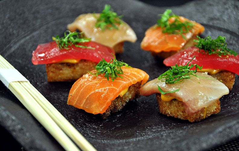 Crispy sushi sampler tuna hamachi salmon chipotle