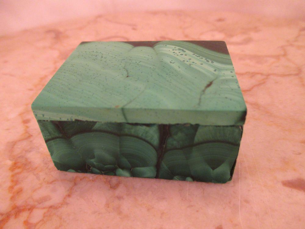 "Vintage Malachite Carved Stone Trinket Box Green 2"" x 1 1/2"" x 1"" Size"