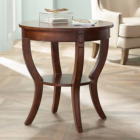 Best Patterson Americana Cherry Round Wood End Table 11V44 640 x 480