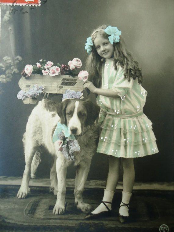 Antique dog postcard  Little girl child St by LizKnijnenburg