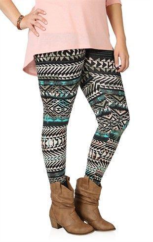 Plus Measurement Multicolor Tribal Print Legging