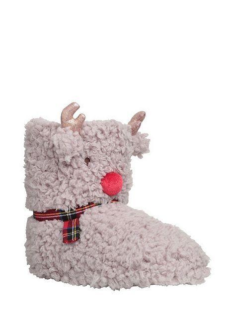 Tesco direct: F&F Reindeer Cloud Fleece Bootie Slippers ...