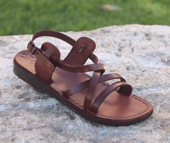 Handmade Brown Genuine Leather Thong Sandals for Men Women Made in Holy Land