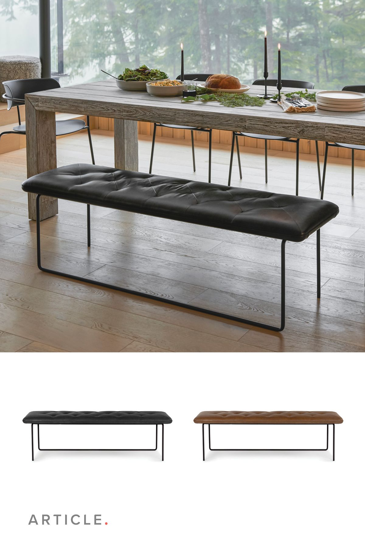 17++ Black wood bench for dining table Trend
