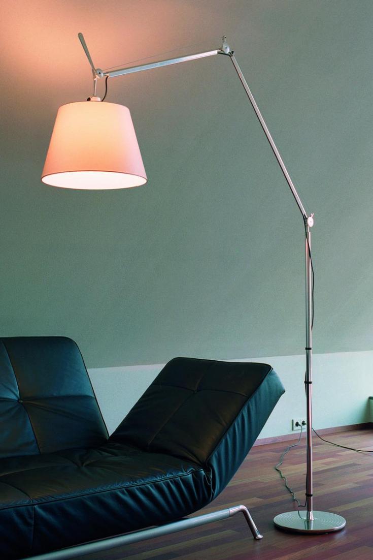 Designer Standerlampe Tolomeo Mega Med Satinskaerm Haus Deko Burobeleuchtung Led Schreibtischleuchte