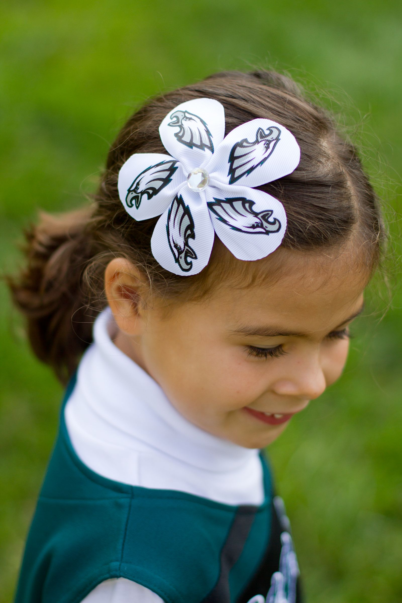 #Eagles Ribbon Flower Hair Bow