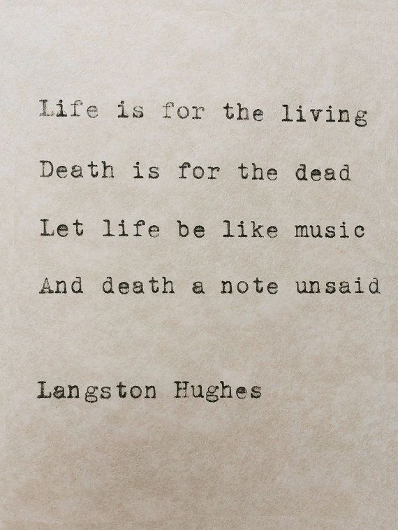 Langston Hughes Typewriter Poem Life And Death by ...