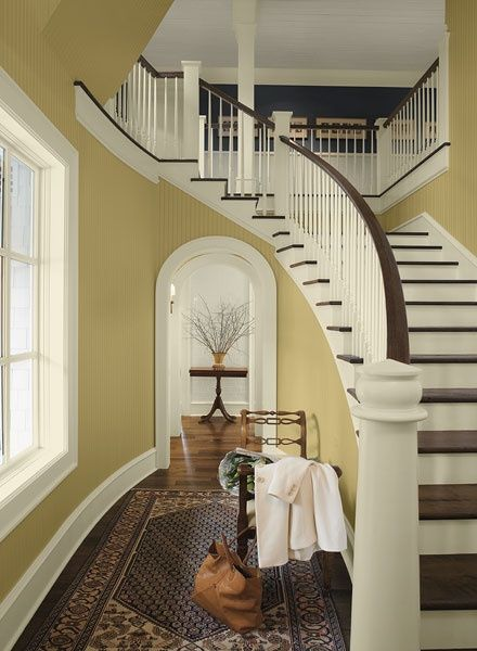 Nice Color Combo And Stairs Benjamin Moore S Yellow Paint Colour Combination For Hallways Entryways Cork A Pottery Barn