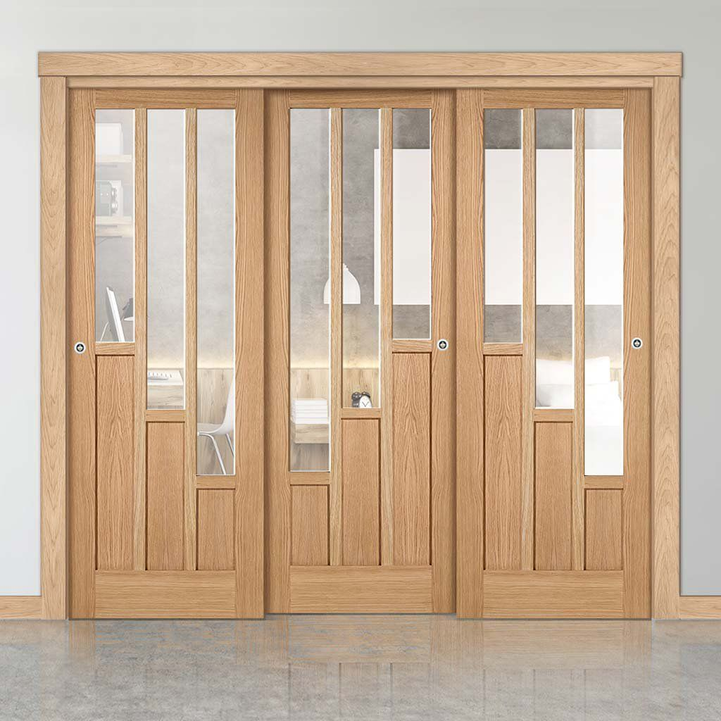Three Sliding Doors And Frame Kit Coventry Contemporary Oak Door Clear Glass Unfinished In 2020 Sliding Doors Door Design Wood Kitchen Door Designs