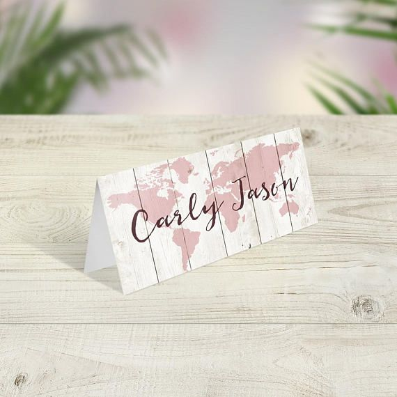 travel theme wedding place cards wedding place names