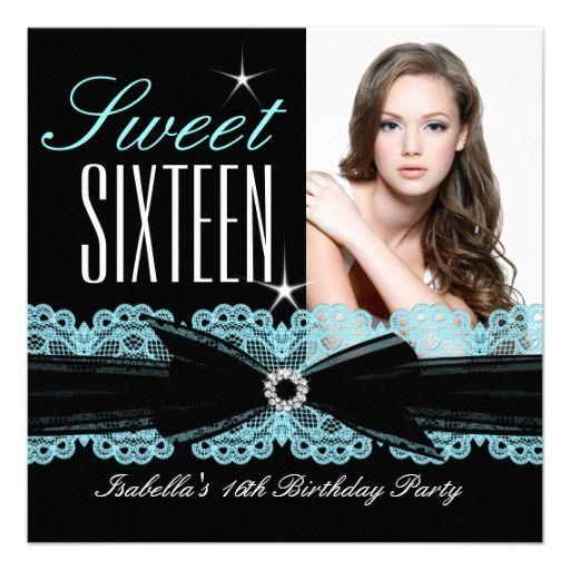 Sweet Sixteen Sweet 16 Teal Blue Black Lace 2b