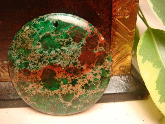 green sea sediment jasper | Items similar to Green Sea Sediment Jasper pendant bead 40x40x6mm ...