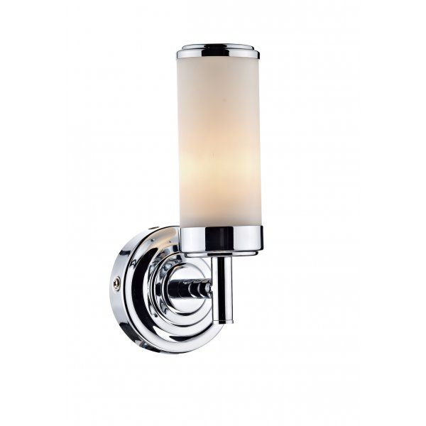 Ip44 double insulated bathroom wall light art deco style loft century polished chrome single arm wall light manufactured from steel it has a circular and decorative back plate with a single arm attached that is aloadofball Image collections