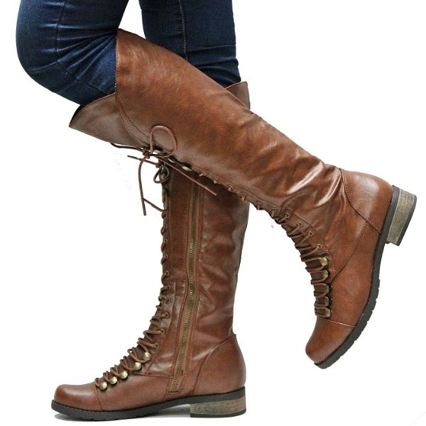 New Women JC71 Tan Combat Military Knee High Lace Boots US Sz 5 5 ...