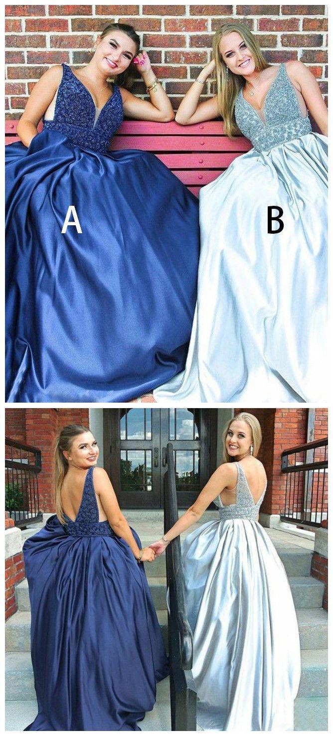 aline v neck prom dresses with beading blue long prom dresses