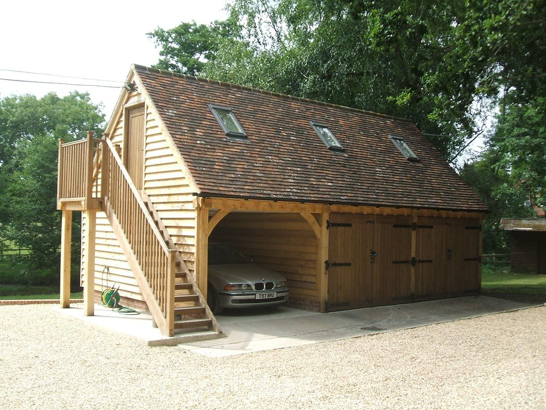 3 Bay Oak Garage With Car Port And Upper Floor Car Port