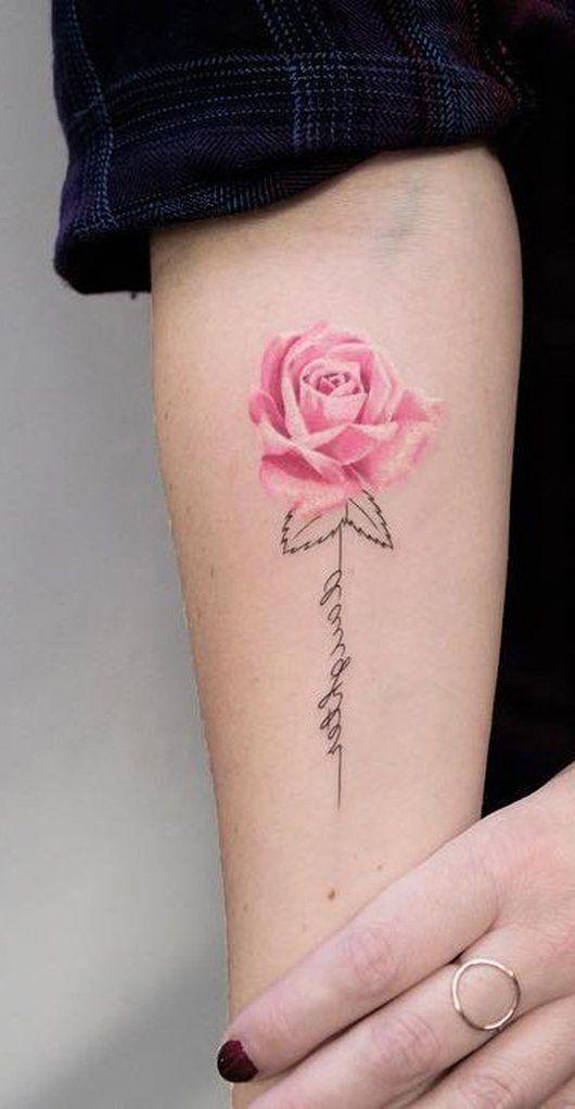 a9d42d148 Cute Pink Watercolor Rose Floral Flower Forearm Tattoo Ideas for Women -  www.MyBodiArt.com