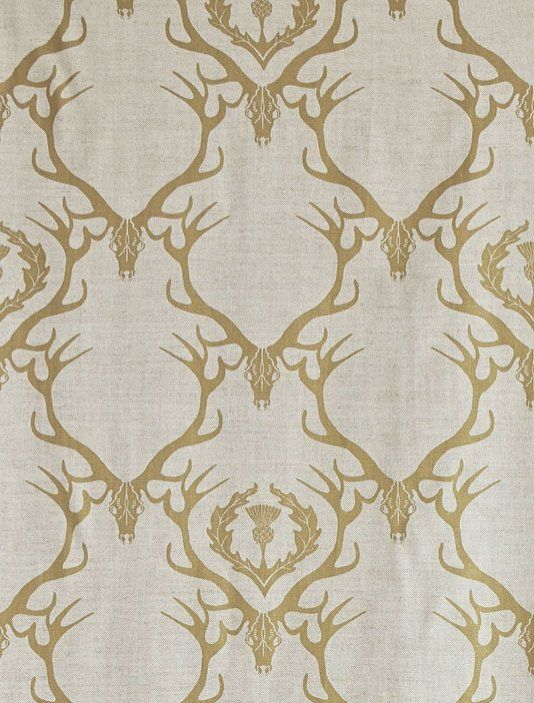 Deer Damask Fabric A neutral linen union with a gold design of stag head and antlers with leaf and thistle design