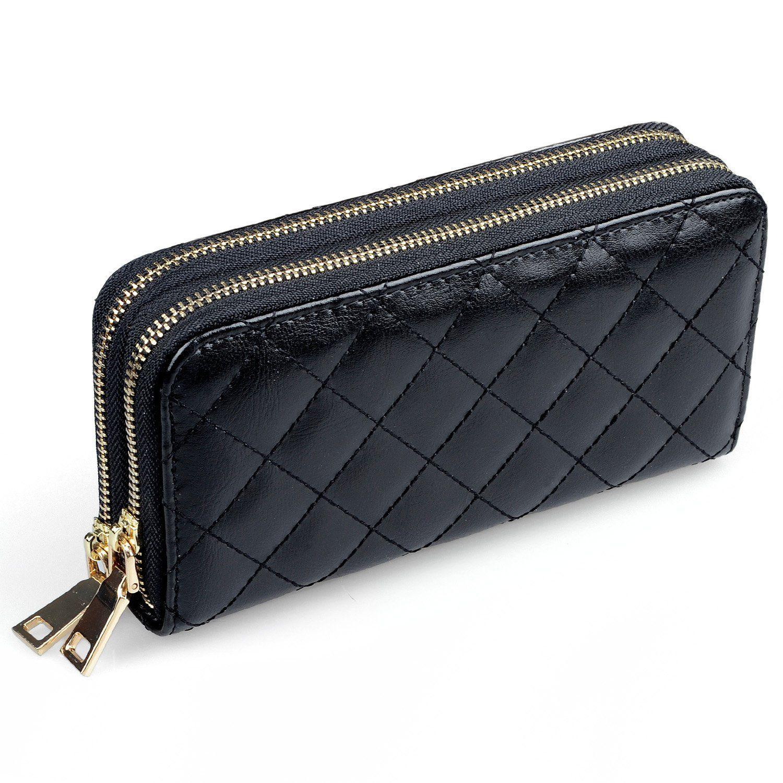 2a38de216d Portafoglio in pelle da donna con due cerniere, Borsa Organizer per  ragazze, Pochette o Clutch + clip con cinturino da polso: Amazon.it:  Valigeria